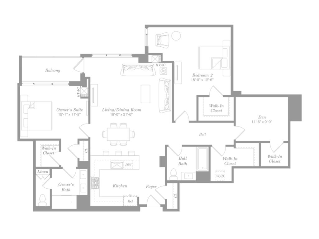 RESIDENCE 1113 - $1,624,000 | 1,704 Square Feet | 2 Bedroom + Den | 2 Bathroom | Balcony