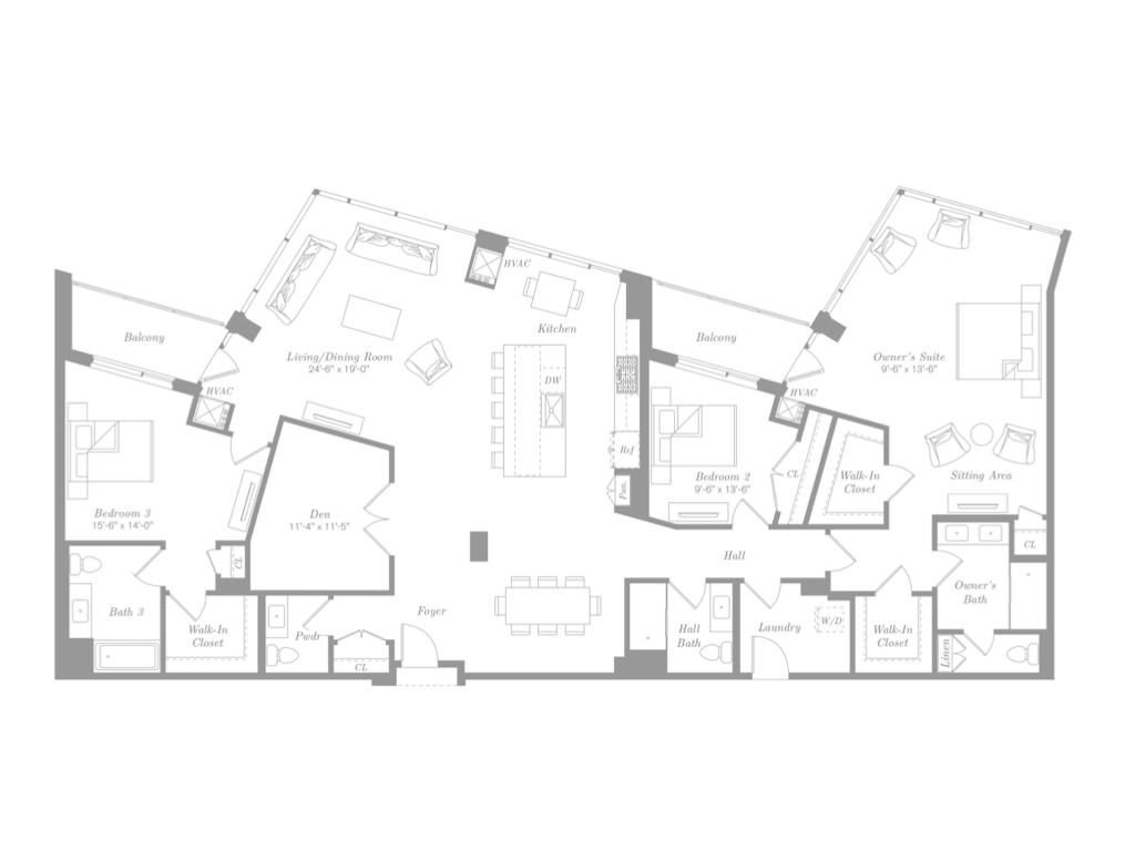 PENTHOUSE NINE - $3,700,000 | 2,571 Square Feet | 3 Bedroom + Den | 3.5 Bathroom | 2 Balconies