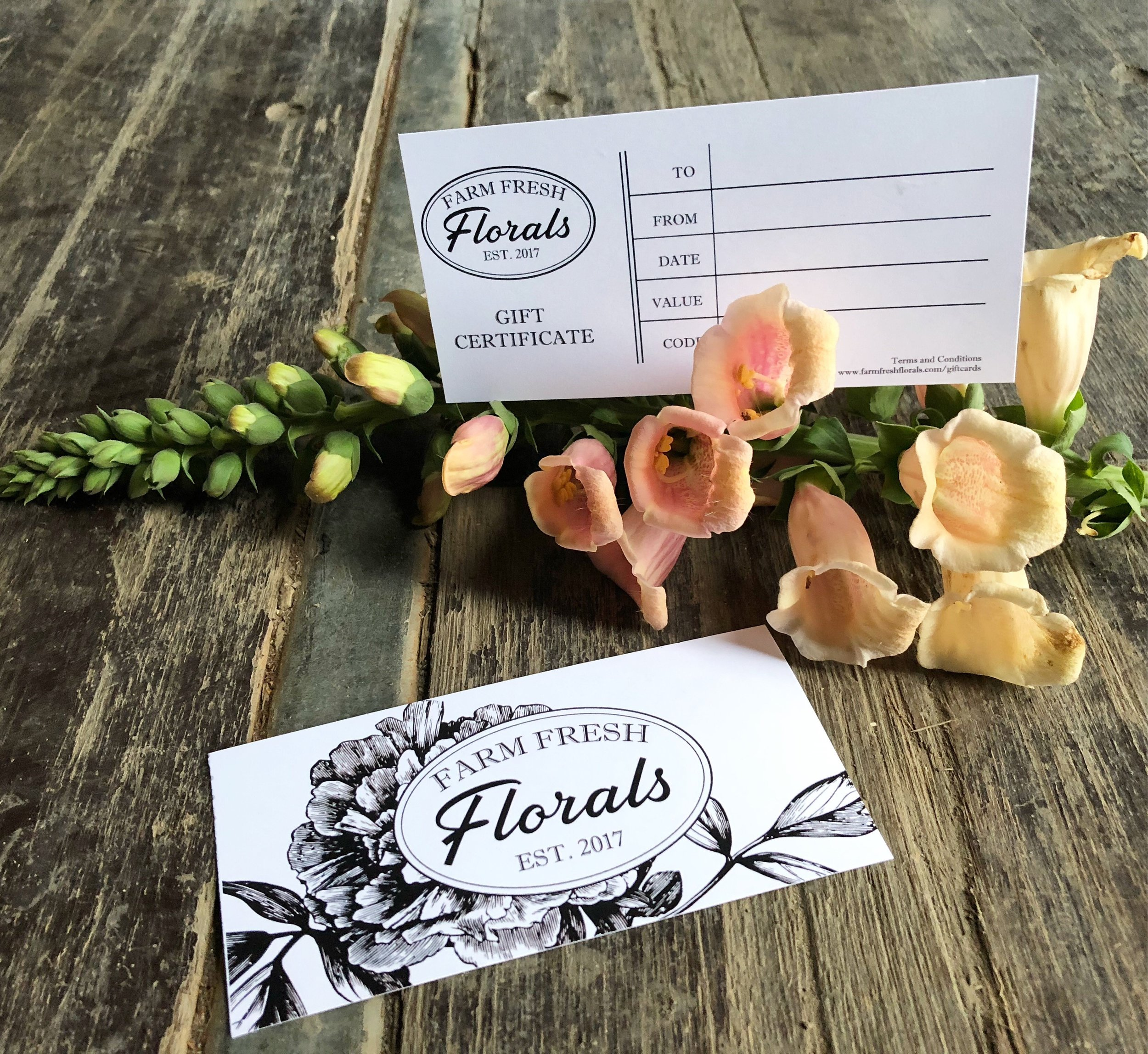 GIFT  CARDS - Farm Fresh Florals is pleased to offer Gift Cards for all occasions.Terms and Conditions:- Available in any Denomination- Can be provided Digitally or Printed- No Cash Value- Valid on all offerings at Farm Fresh Florals (Flowers, Events, Photography and THE SILO.- No Expiry Date**Please note that our farm grows seasonal florals, gift cards must be used in season (approx. June thru Oct) or as prearranged with Farm Fresh FloralsSend us a message below or call us at 780-445-8134to Give the Gift of Fresh Flowers.