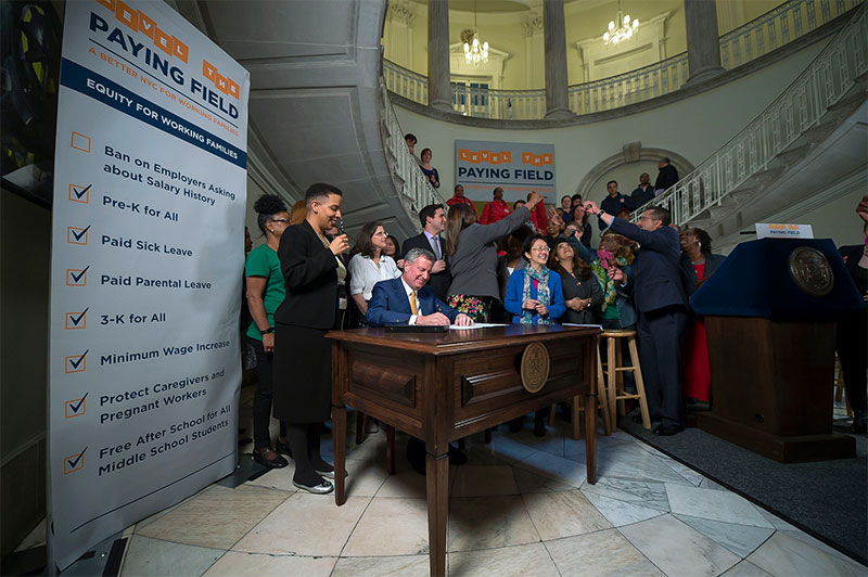 NYC Mayor Bill de Blasio signs new act prohibiting employers to inquire about salary history.