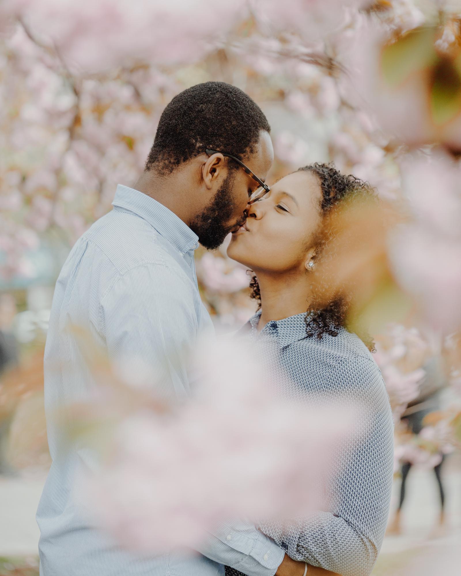 Prospect Park blossoms engagement photos