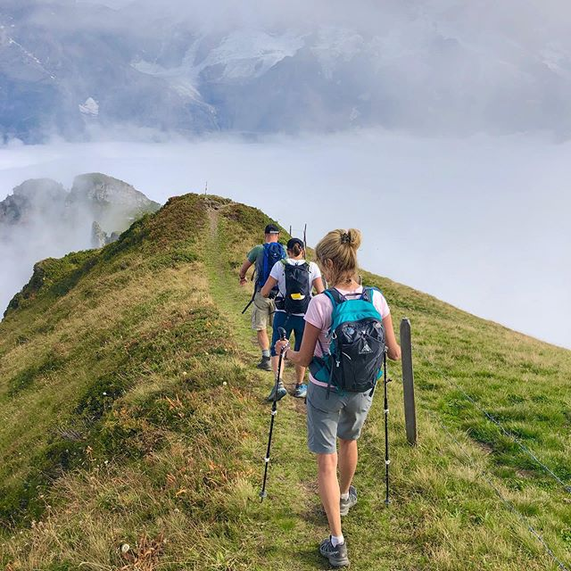 Hiking above the clouds at only 7,000 feet (2125  meters). Views are hidden, but we loved the blanket of white that enveloped us! ⛰🏃♀️⛰ . . . . . . . . . . . #hikingtheglobe #alpselevated  #gimmelwald #nature #optoutside #getoutside #switzerland #lauterbrunnen #outdoors  #hikingboots #alps #hiking #hikingadventures #naturelovers #landscape #wanderlust #offthegrid #mountainlife #godsgreenearth #adventureawaits #bergwandern #wandern #wanderlusting #mountainbiking #naturephotography #hike #whyihike #choosemountains #hikelikeagirl #swissalps