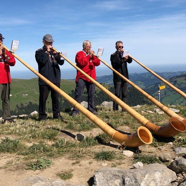 Where else would you expect to hear alpenhorns playing but on the mountain? 🏔🏃🏻♂️🏔 . . . . . . . . . . . #hikingtheglobe #alpselevated  #alpenhorn #nature #optoutside #getoutside #switzerland #appenzell #outdoors  #hikingboots #swissalps alps #hiking #hikingadventures #naturelovers #landscape #wanderlust #offthegrid #mountainlife #godsgreenearth #adventureawaits #bergwandern #wandern #wanderlusting #mountainbiking #naturephotography #hike #whyihike #choosemountains