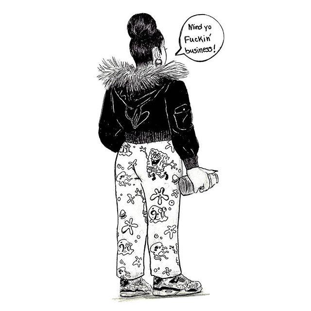 🗯This drawing just told you to mind yo fuckin' business🧸, that's how I keep my skin wrinkle and blemish free. Also RIP Stephen Hillenburg, I love Spongebob. #ink #spongebob #jordans #babyphat
