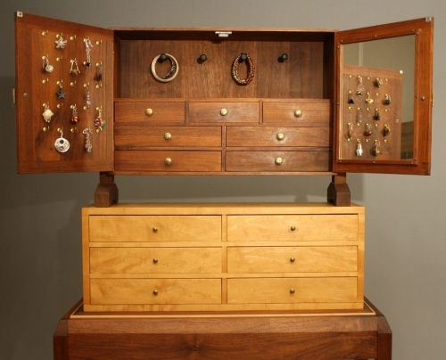 Jewelry Chest on Chest on Base, open view