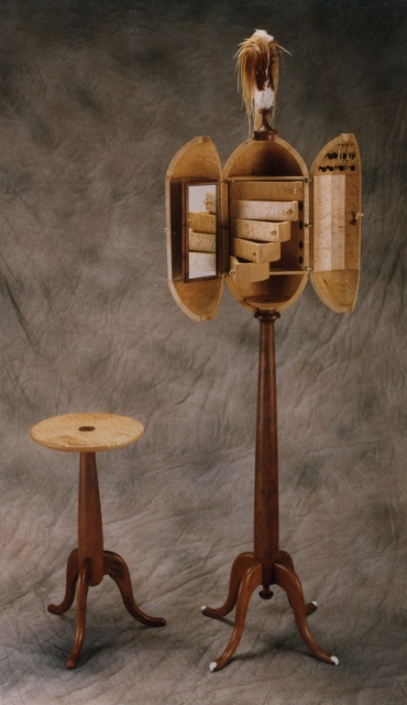 Egg-Shaped Jewelry Cabinet with Stool, open view