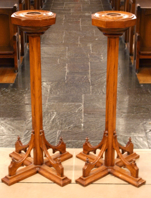 Gothic Candle Stands. 1986. White oak, lacquer finish.  One of a pair of candlestands commissioned for Westminster Presbyterian Church, Albany, NY. Inspired by the Scott Tower in Edinburgh, Scotland.