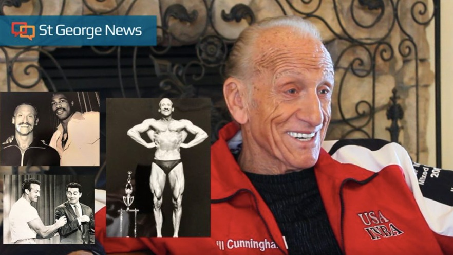 St. George resident and Former Mr. Universe Bill Cunningham at his home, Jan. 30, 2019. Inset photos of Cunningham with Ken Norton(top) and Regis Philbin (bottom) | Photo by Andrew Pinckney, St. George News