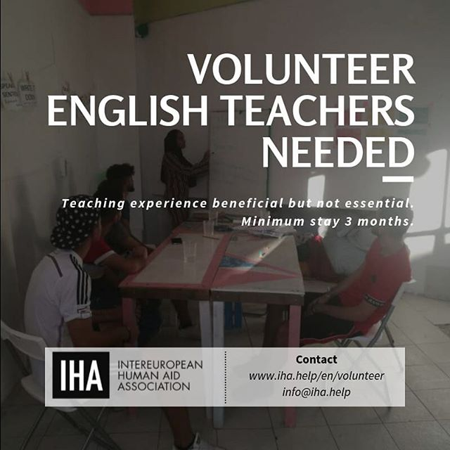 As soon as possible we need volunteer teachers for English classes in our community center.  Contact us on www.iha.help/en/volunteer  #dignityfirst #chooselove #northgreece #helprefugees #greecerefugees #refugees #refugeeswelcome #Thessaloniki #humanity #communitycenter #ngo #teaching