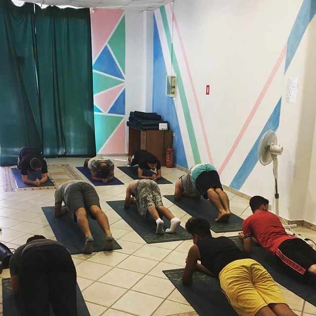 Our first Men's fitness workshop was a success today! Join us on Tuesdays and Thursdays from 2-3pm, for what we hear is a pretty tough workout!  Many thanks to @yogashop.nl for donating the yoga mats we use in all our yoga and fitness sessions. More updates to come!
