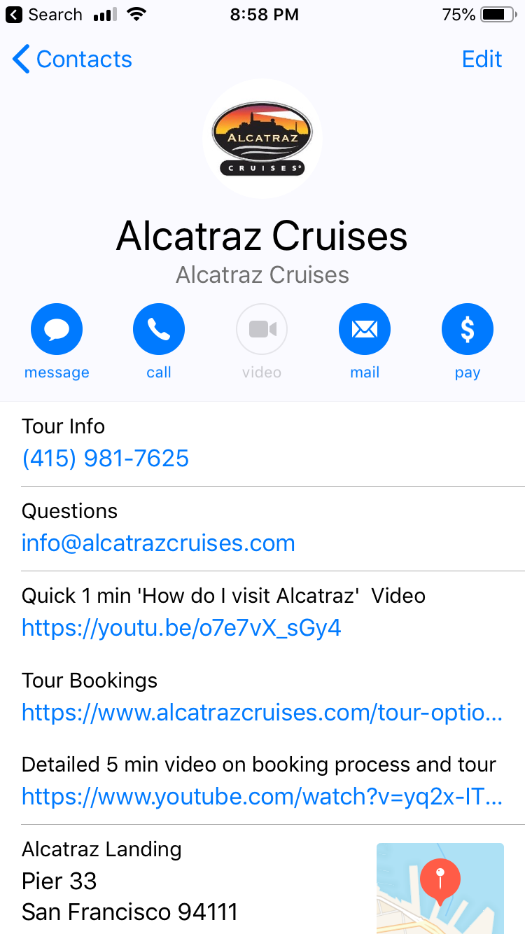 Alcatraz Cruises  iPhone  Contact Page after being saved by Unicorn Tech Tour app