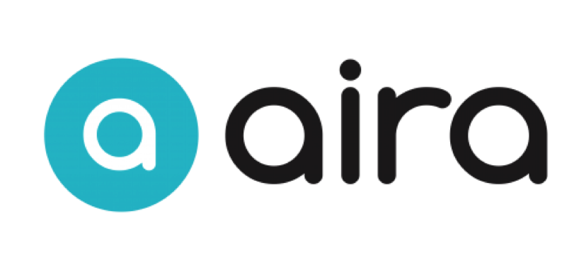 Aira logo, letter A in turquoise followed by the word Aira in black.'