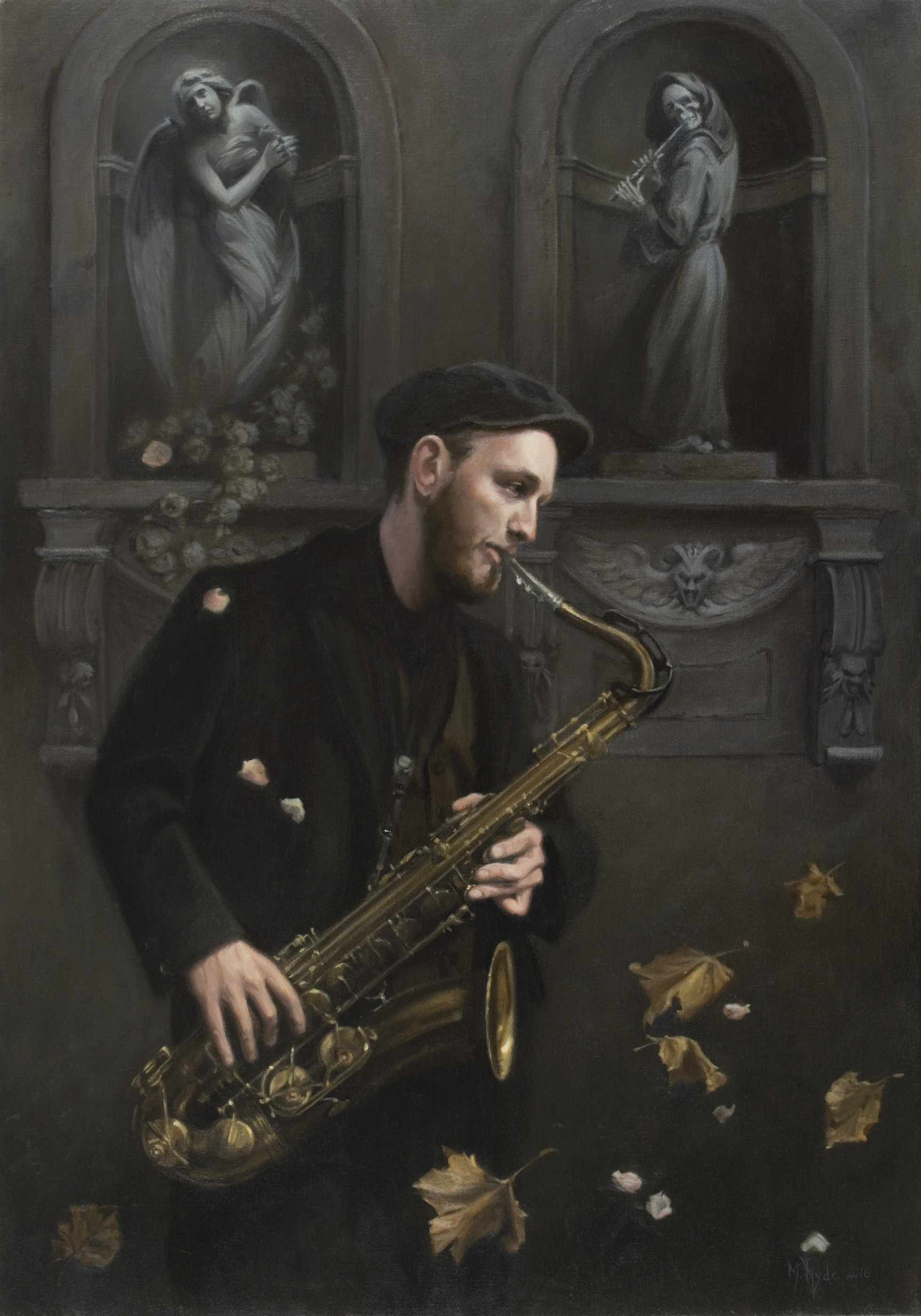 The Sax Player oil on linen 100 by 70 cm. 2016