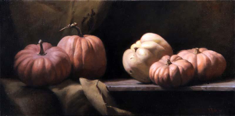 Zucche! (Pumpkins!)  40 by 80cm. Oil on linen 2005  SOLD