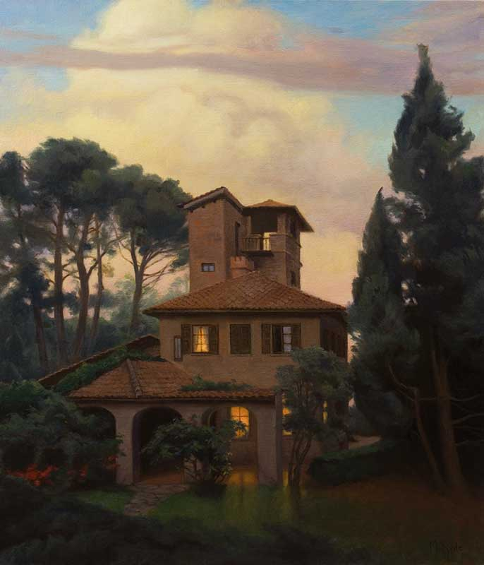 Casa Flemming (evening)  oil on linen 100 by 80 cm. 2014 for TASIS (The American School in Switzerland)   COMMISSION