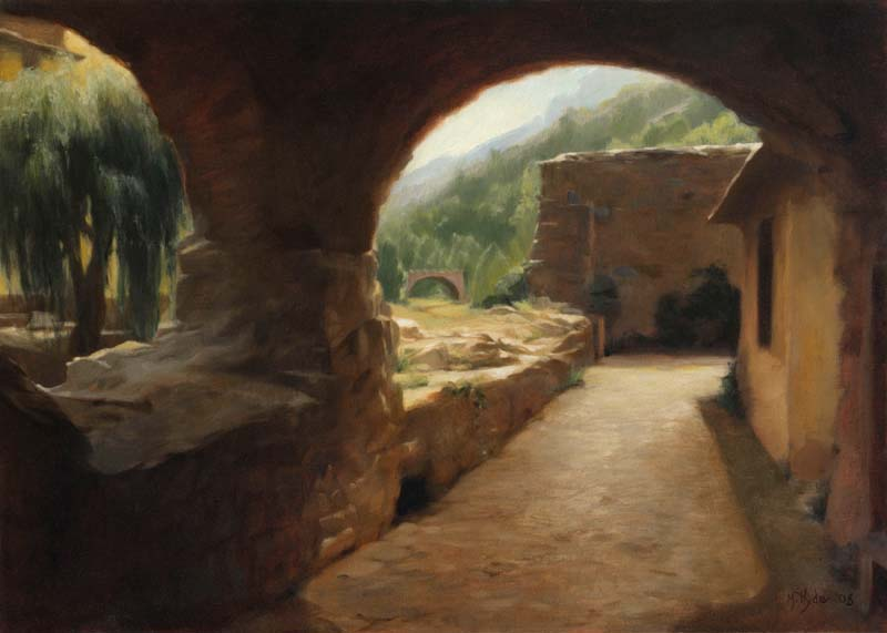 La Brigue (Galleria in French alpine village)  oil on linen cm. 50 x 70 2008  SOLD