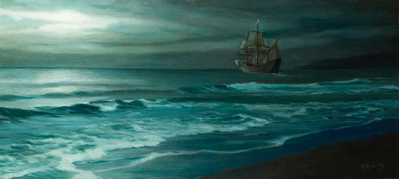 Moonlit Sail  oil on linen 45 by 100 cm.  2015