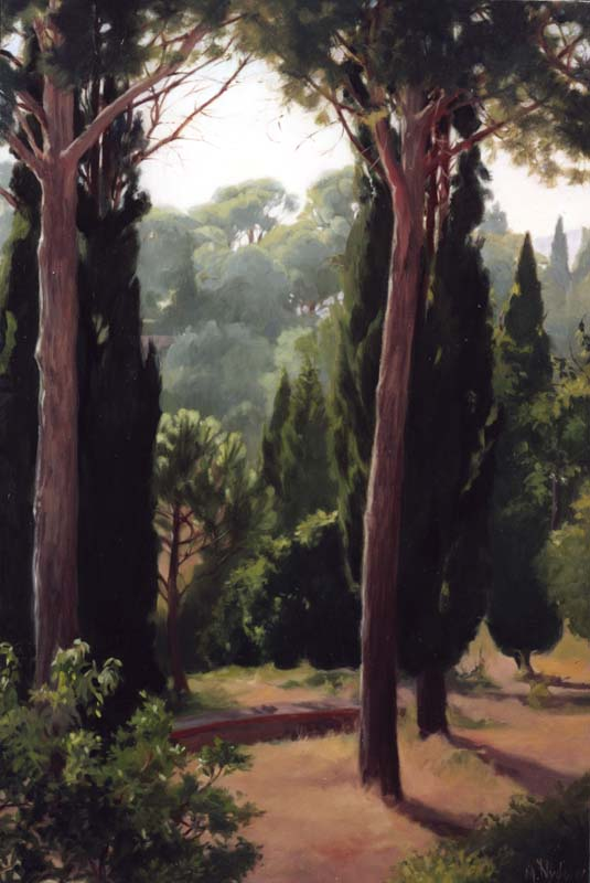 Pini Romani (Landscape with Roman Pines)  oil on linen cm. 40.5 x 61 2002  SOLD