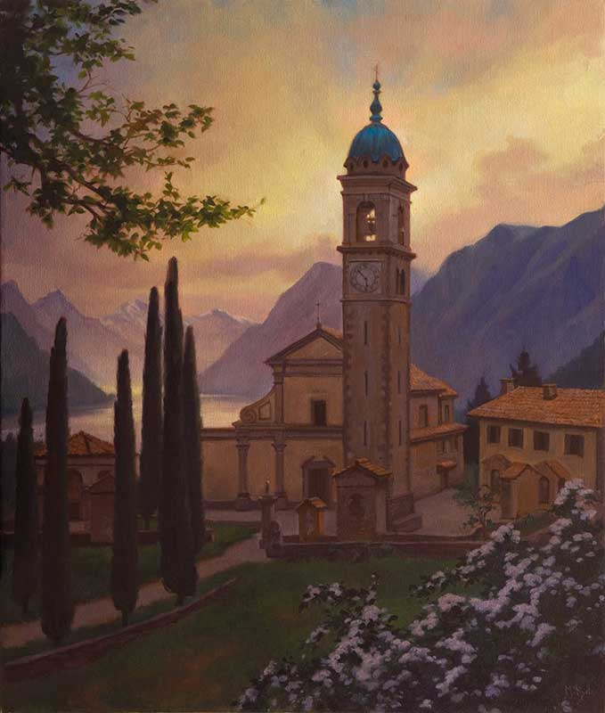 Sant'Abbondio (morning)  oil on linen 100 by 80 cm. 2014 for TASIS (The American School in Switzerland)   COMMISSION