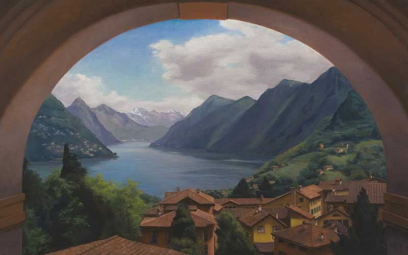 View of the Lake from the School   oil on linen 100 by 160 cm. for TASIS (The American School in Switzerland)  2014  COMMISSION