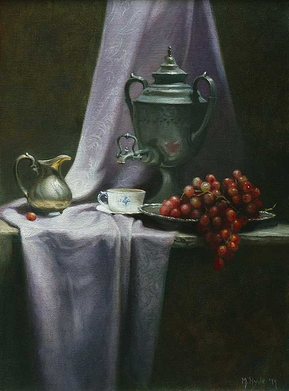 Grapes and Silver  oil on linen cm. 70 by 50 2014  SOLD