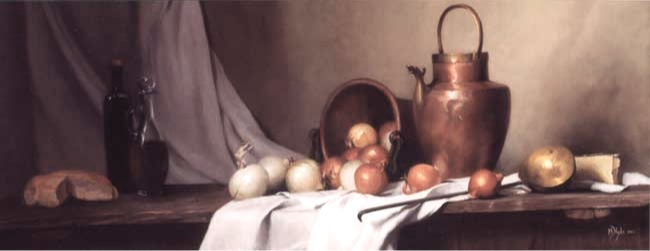 Pane e Cipolle  (still life with bread and onions) oil on linen cm. 55 x 130  SOLD