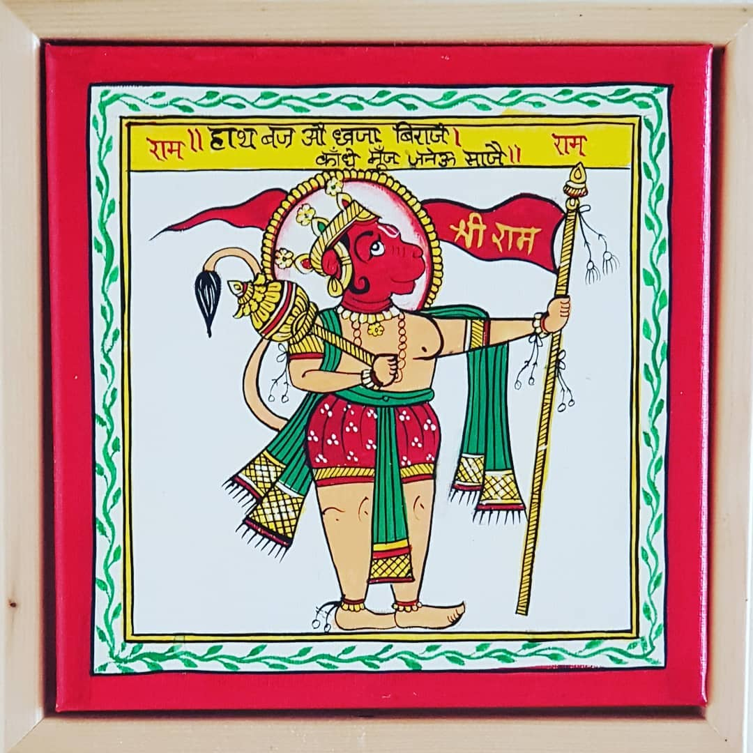 Traditional Phad Painting of Lord Hanuman, Ganesha, Indra