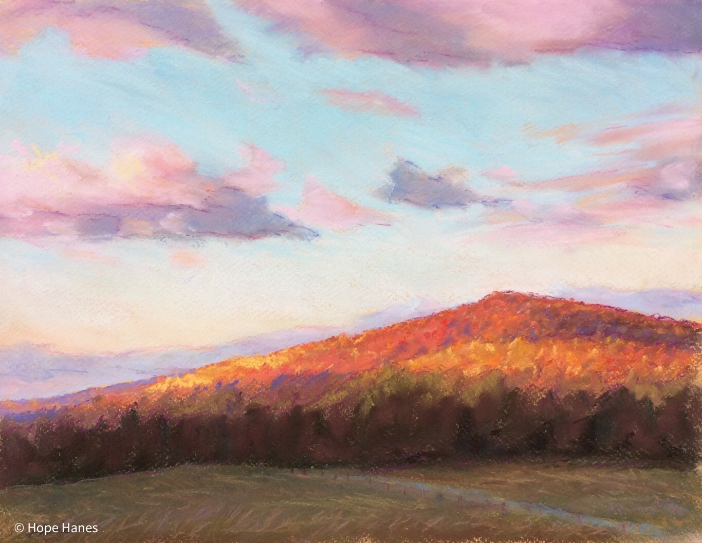 """Sunrise on Purcell Knob"" 2015, pastel on paper"
