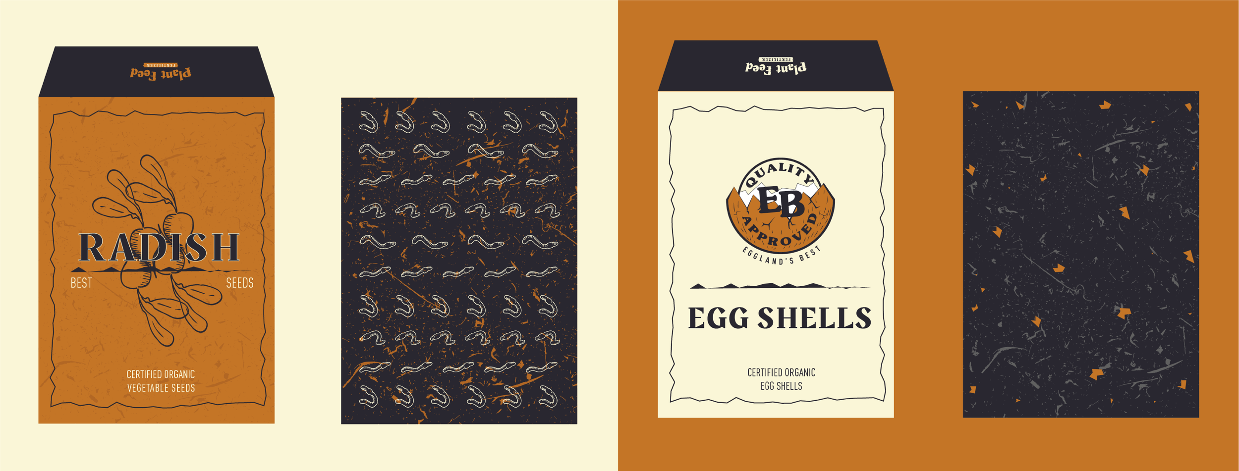 Seed and eggshell sample packets will be attached to the mailer.  Left: front of seed packet, back of seed packet  Right: front of eggshell packet, back of eggshell packet