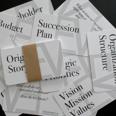 strategy cards -  These cards are one of the most helpful tools we've developed to guide organizations in their strategy work.Download HereTry them out at your next planning session and drop us a line to let us know how they helped and how we might improve them.