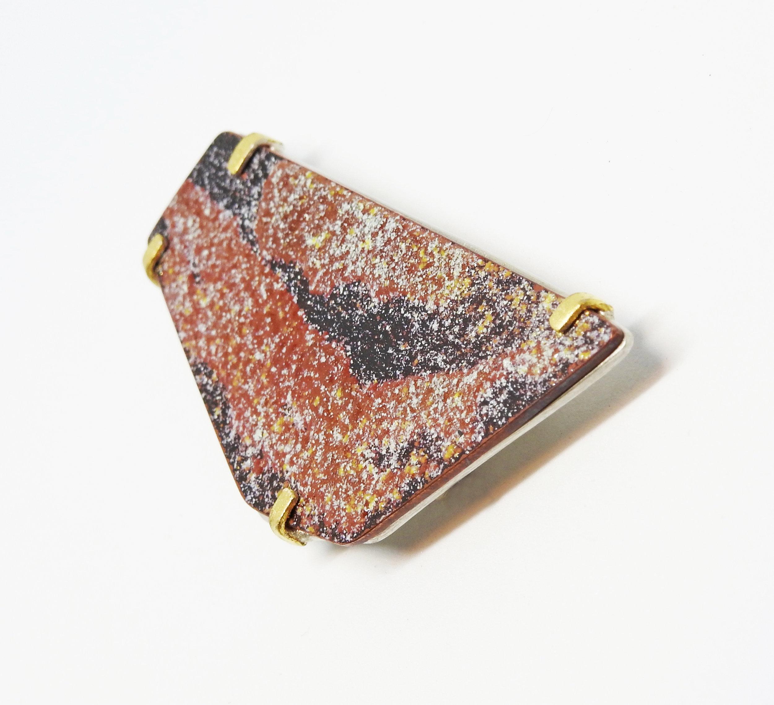 Brooch (2018): Eco Silver, Gold Leaf, Copper, Enamel