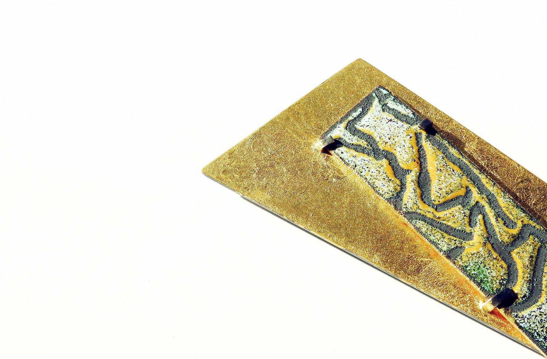 Brooch (2017): Gilding Metal, Copper, Gold Leaf, Enamel