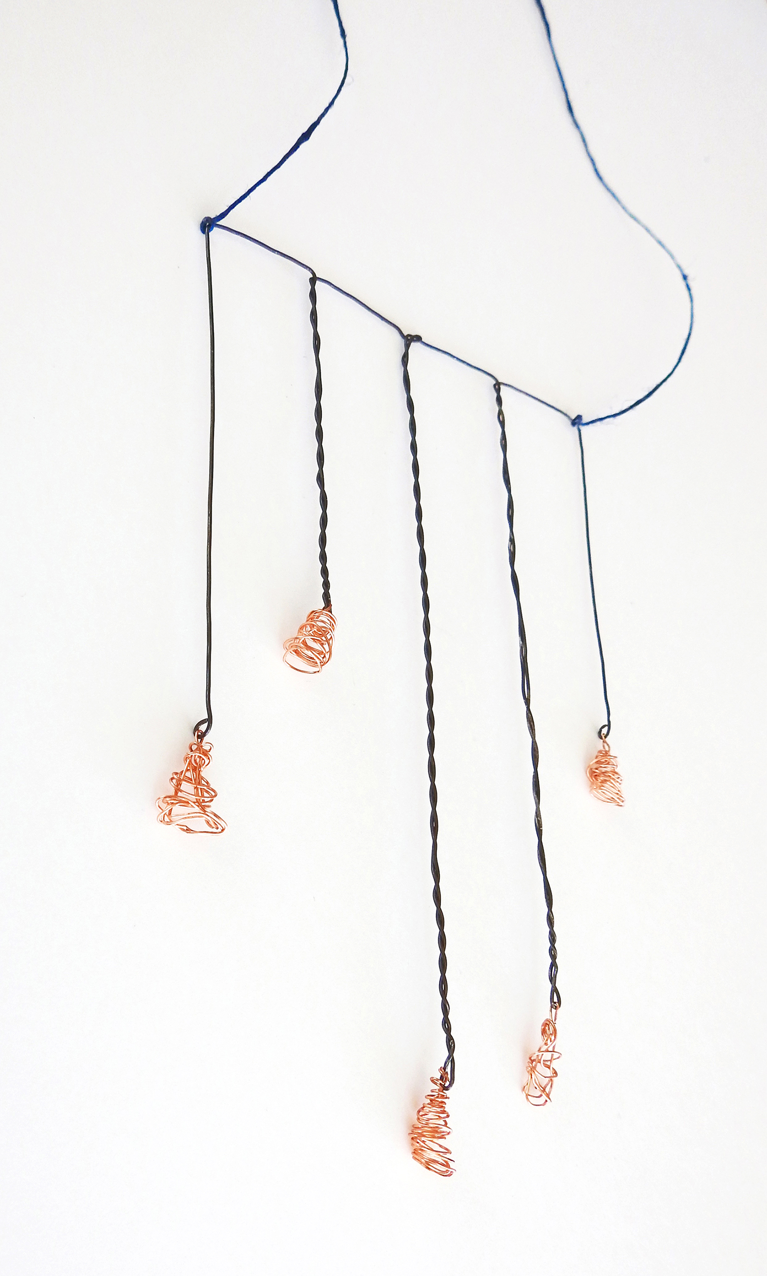 'Wired' Necklace (2015): Paper Thread, Steel & Copper Wires