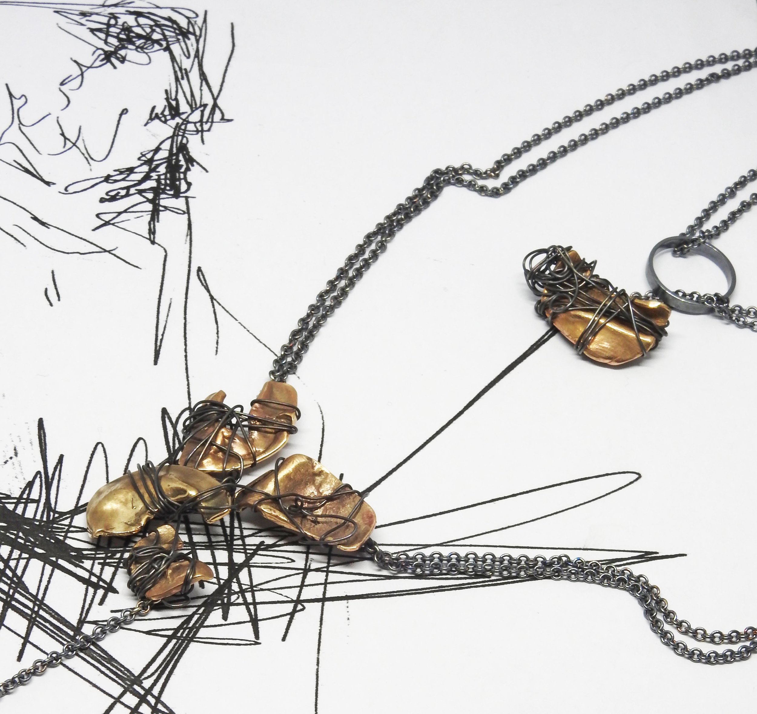 'Trencadis' Necklace (2019): Silver, Bronze, Steel