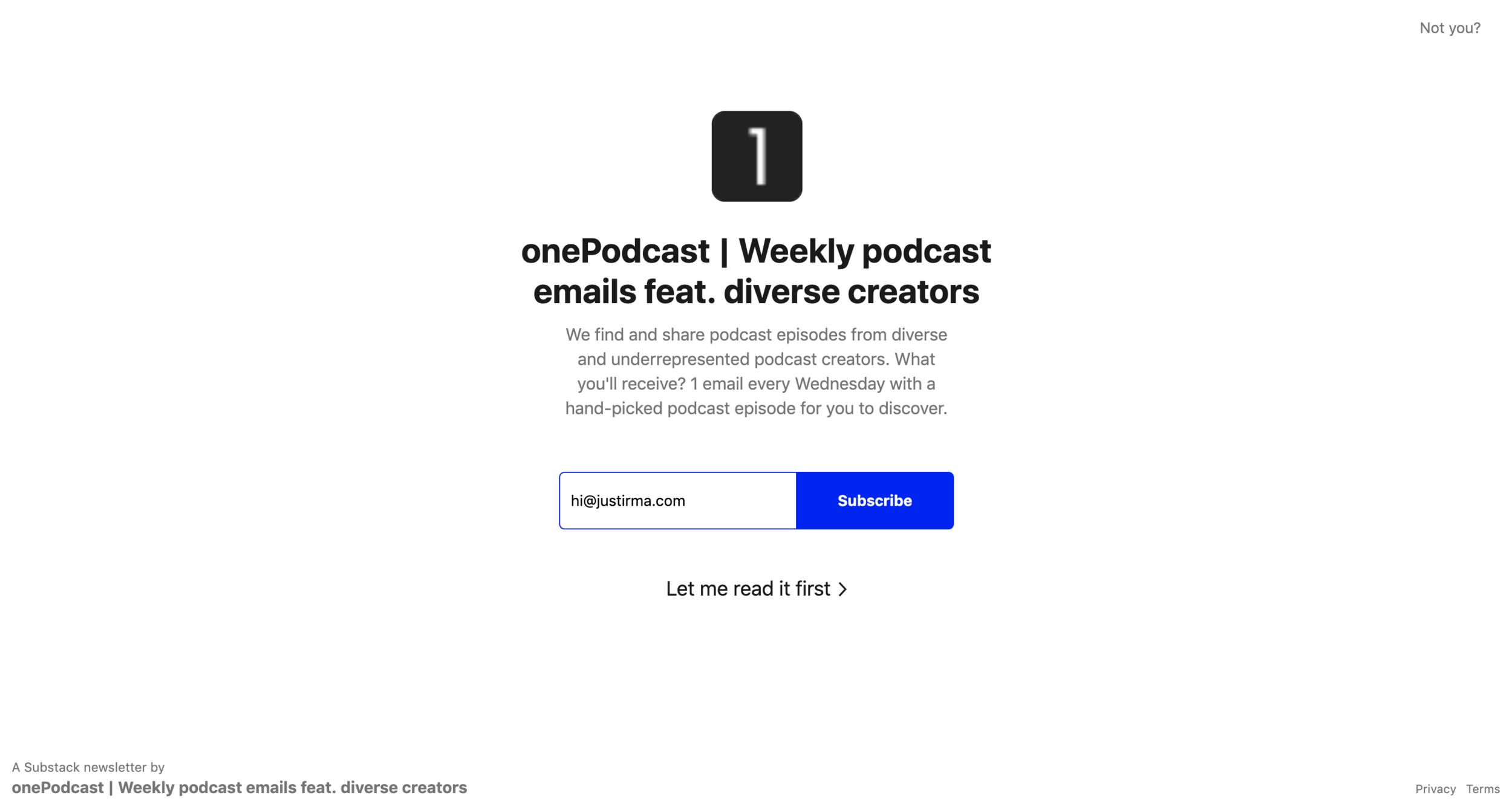 OnePodcast Newsletter for Underrepresented Creators - No Code Build