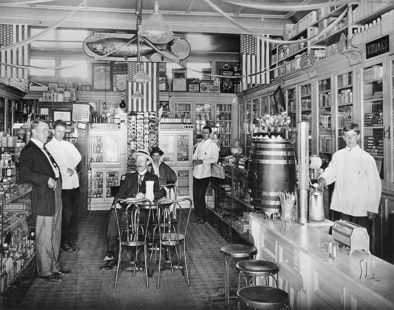Community pharmacy in 1910 (with soda fountain)
