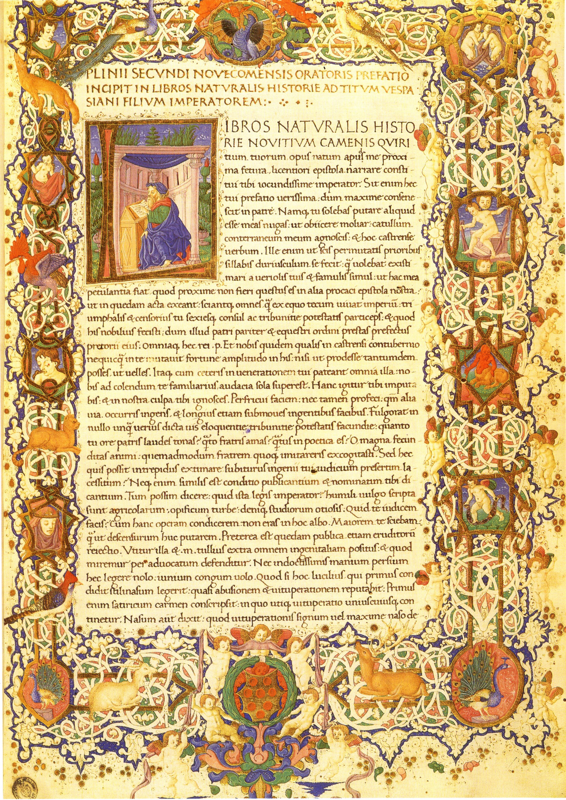 A page from  Historia naturalis  by Pliny the Elder