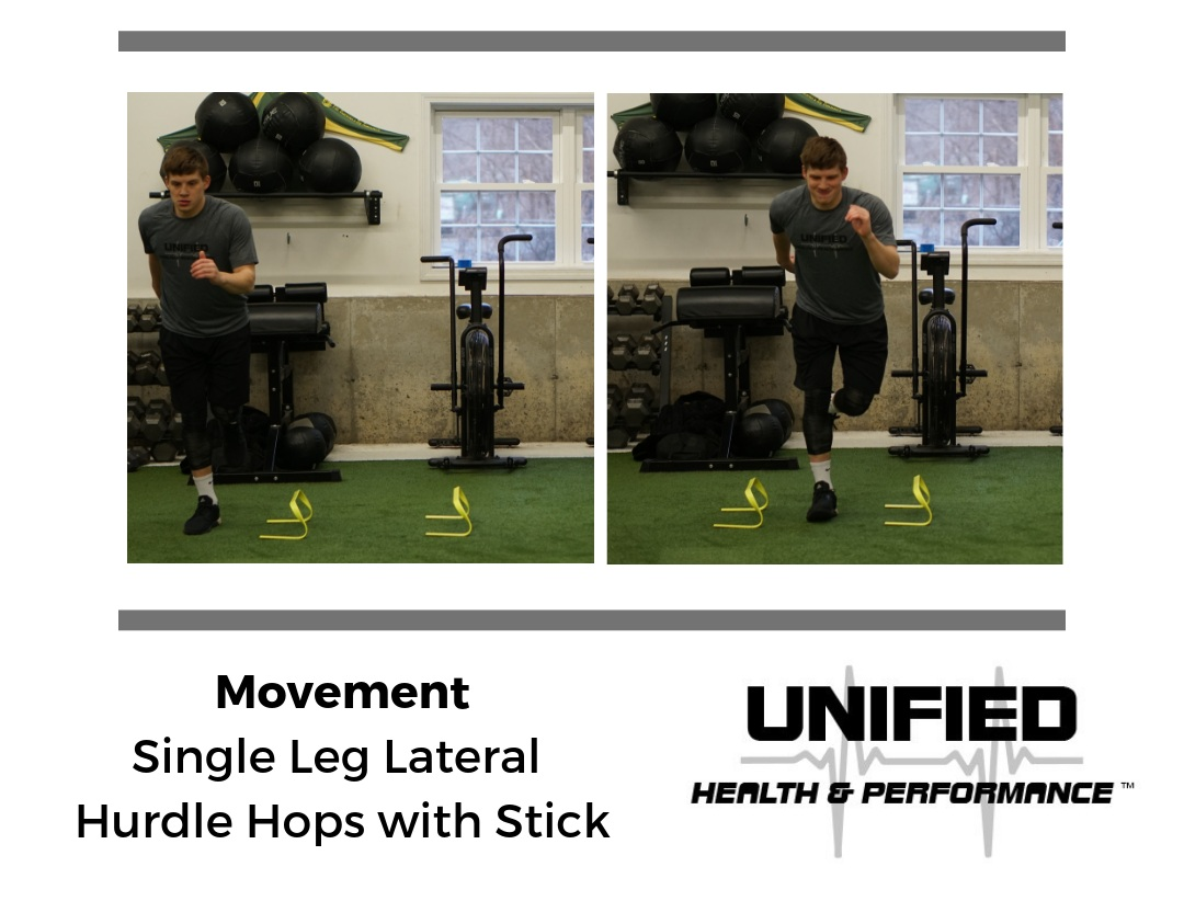 """Now that you've drilled single leg landing in a predictable manner, these Hurdle Hops begin to integrate lateral movement into the exercise to further challenge knee stability. """"With Stick"""" directs the athlete to focus on force absorption mechanics and not the speed of the movement."""