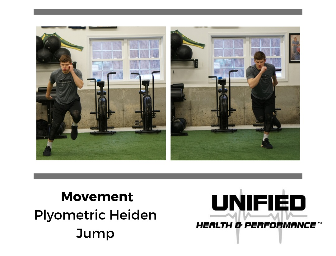 """""""Plyometric"""" is a term used to describe a manner of jump training that focuses on the absorption of an eccentric force (landing) and a subsequent rapid contraction of a muscle (jumping). The period of time that the foot is in contact with the ground is called the amortization phase. The goal of plyometric exercises is typically to minimize this amortization phase (ground-contact time, or GCT) to train elastic qualities of the muscle group. In this case, the goal of a Plyometric Heiden Jump is to transition quickly between single leg jumps while maintaining proper knee alignment and arm action."""