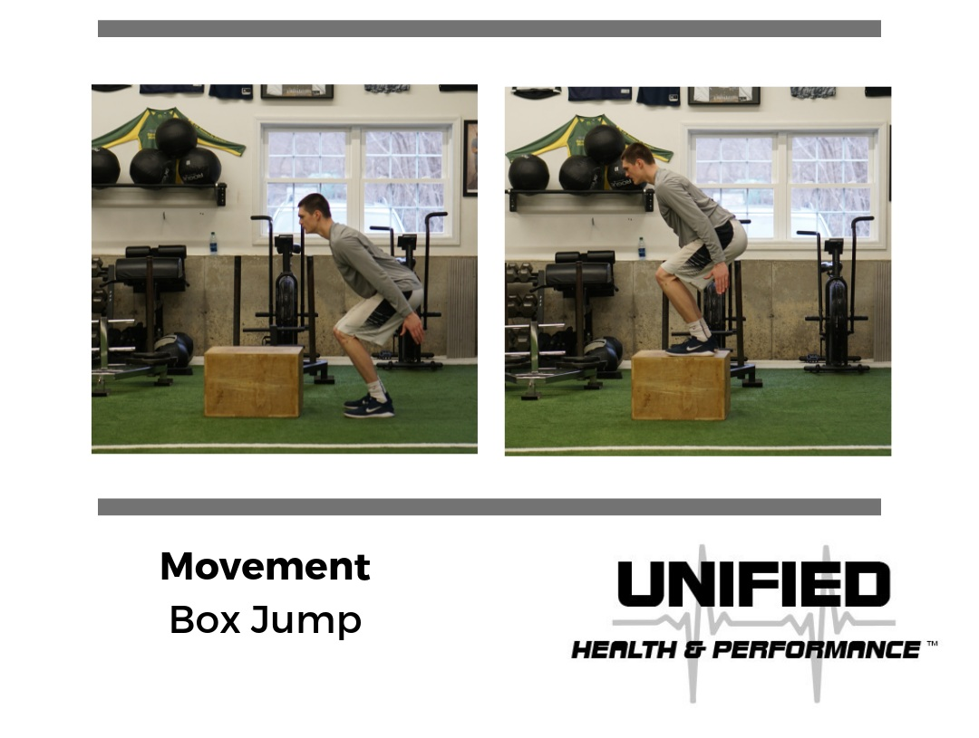Load your hips and snap your arms down by your side. Achieve triple extension by pushing through the ground and driving your hips through. Your landing posture should resemble your takeoff position. The goal is to achieve maximal hip displacement while reducing the impact by landing on the box. The goal is never to land in greater degrees of hip flexion just to increase the height of the box.