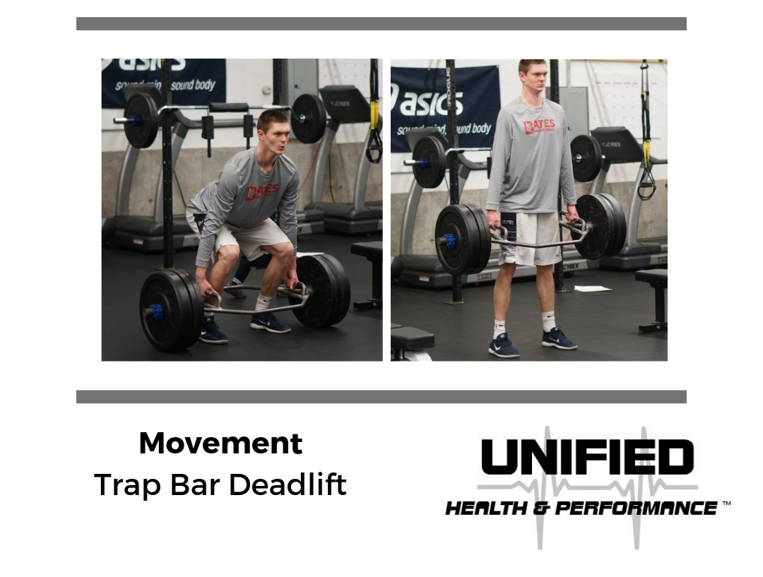"One of our favorite compound strength movements is the Trap Bar Deadlift. You'll notice that the starting position closely resembles that of the Box Jump position and repetitions are completed by a powerful hip extension pattern. We encourage athletes to create tension by ""bending the handle"" and gripping the floor. We want athletes to think about pushing into the floor more so than pulling the bar off of the ground."
