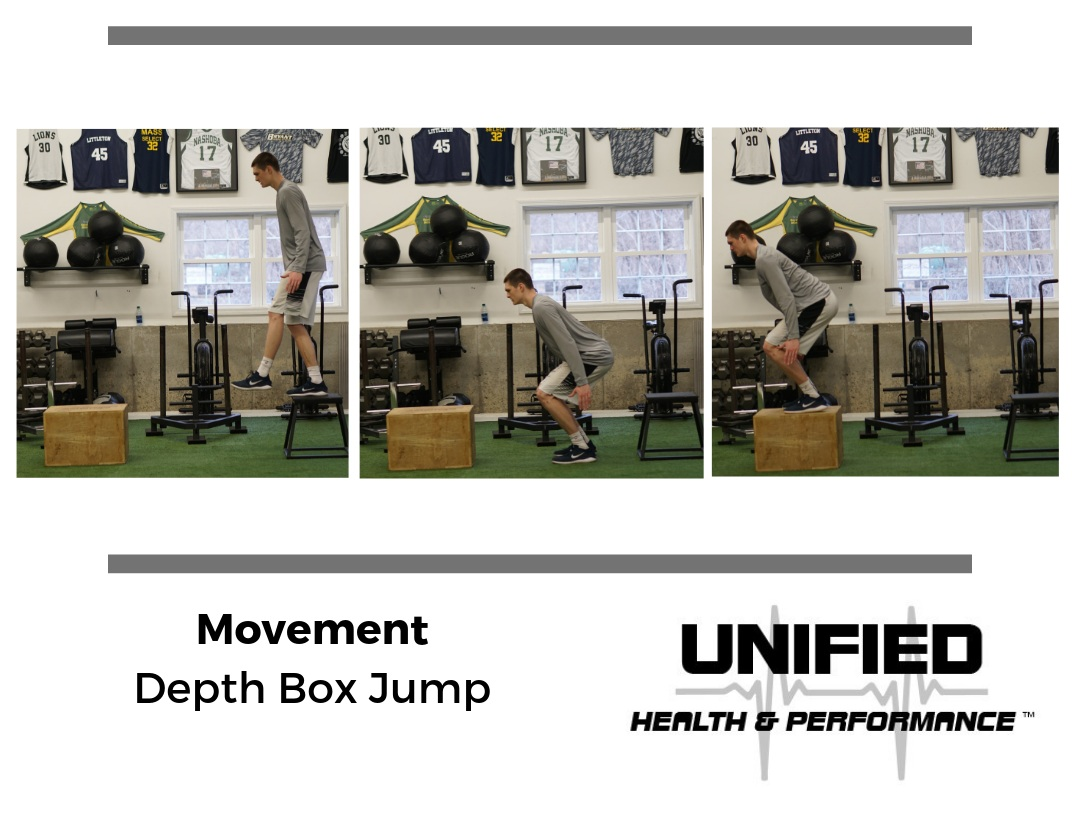 "During a Depth Box Jump an athlete steps off of the first box and quickly jumps up to the second box. Athletes are instructed to minimize ground contact time between the boxes. An athlete's strength, rate of force development, and ""elasticity"" will determine how high the first box should be. If you notice the athlete struggling to quickly leave the ground, it is likely that the height of the first box should be reduced. However, there is merit to using shorter and higher boxes with varying degrees of ground contact time."