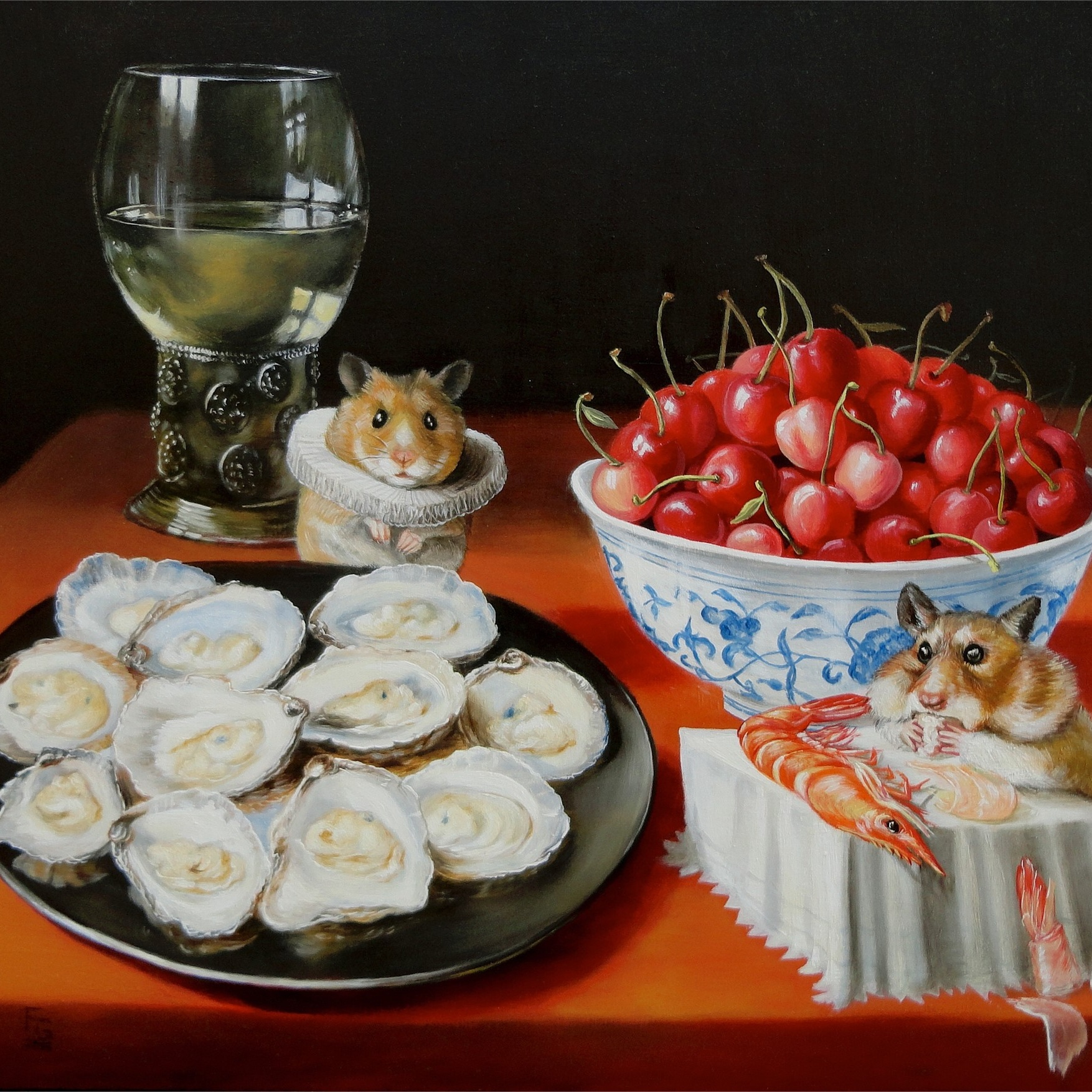 Still Life with Cherries, Oysters, and Hamsters -