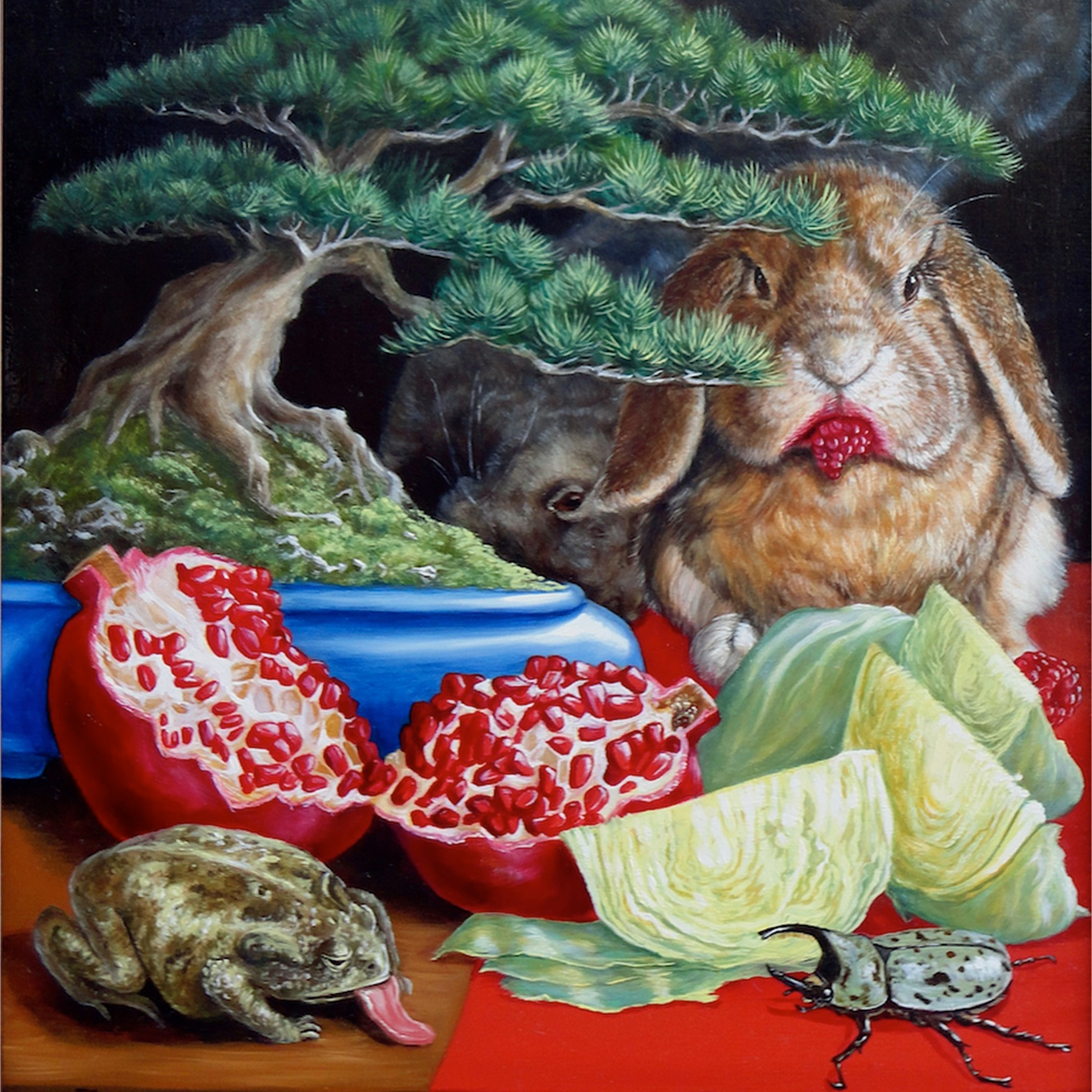 Boiled Cabbage with Bonsai Tree, Pomegranate, and Cute Creatures -