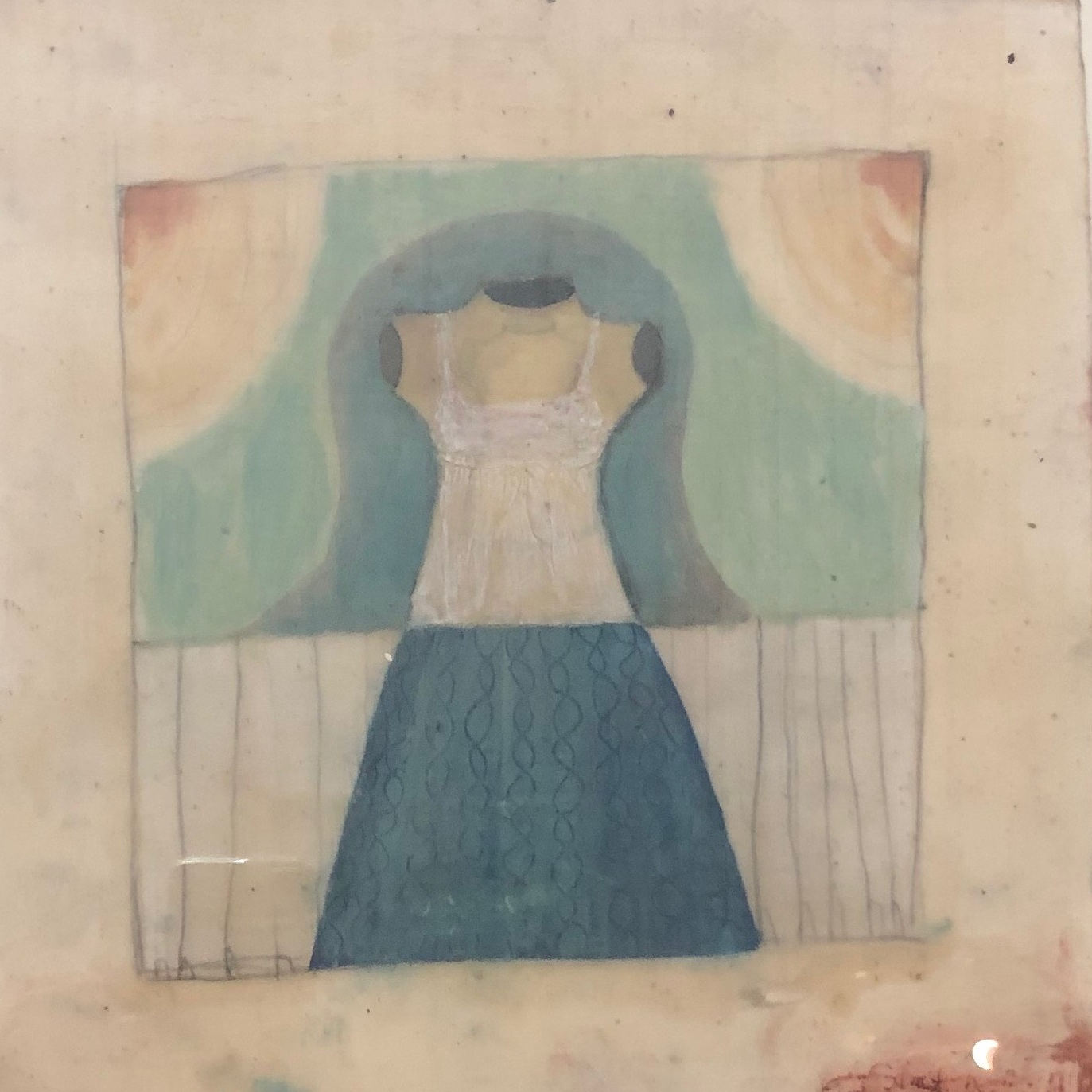 Jeni StallingsHa-Ha Dress, 2019, oil and beeswax on paper, 12.5 x 12.5 in -