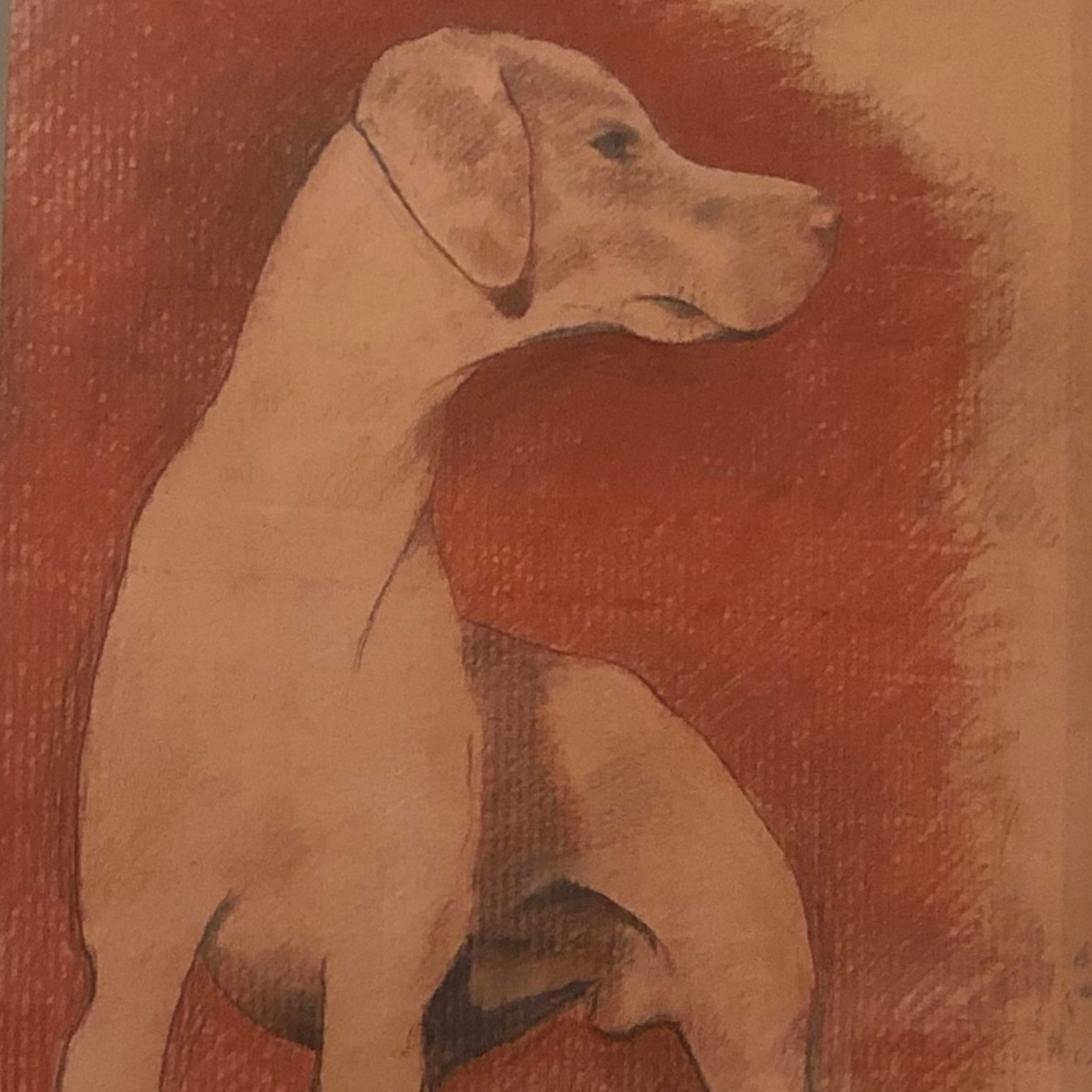 Charles InzerHunting Dog, 2019, pastel on cardboard, 36 x 24 in -