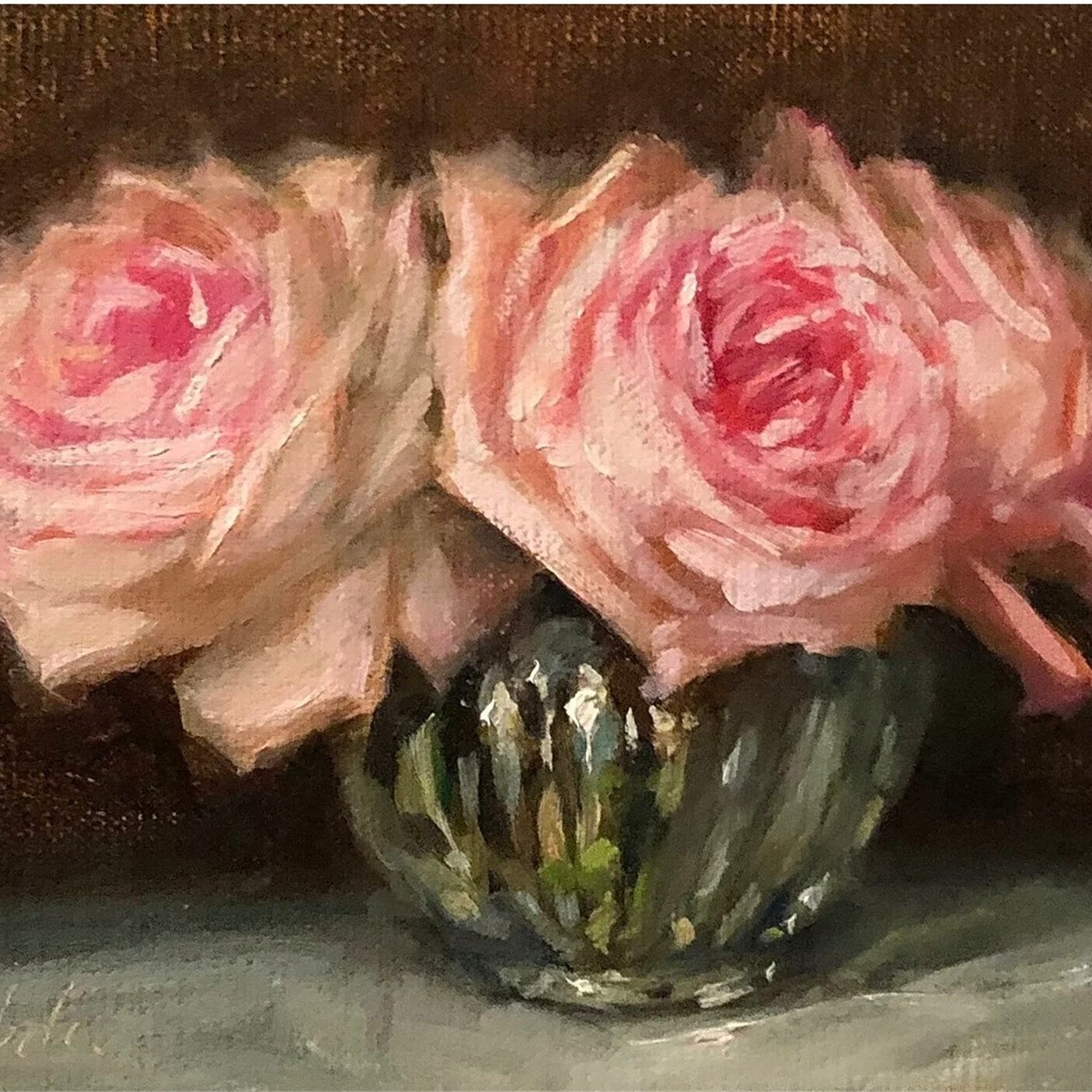Roses in a Fluted Glass -