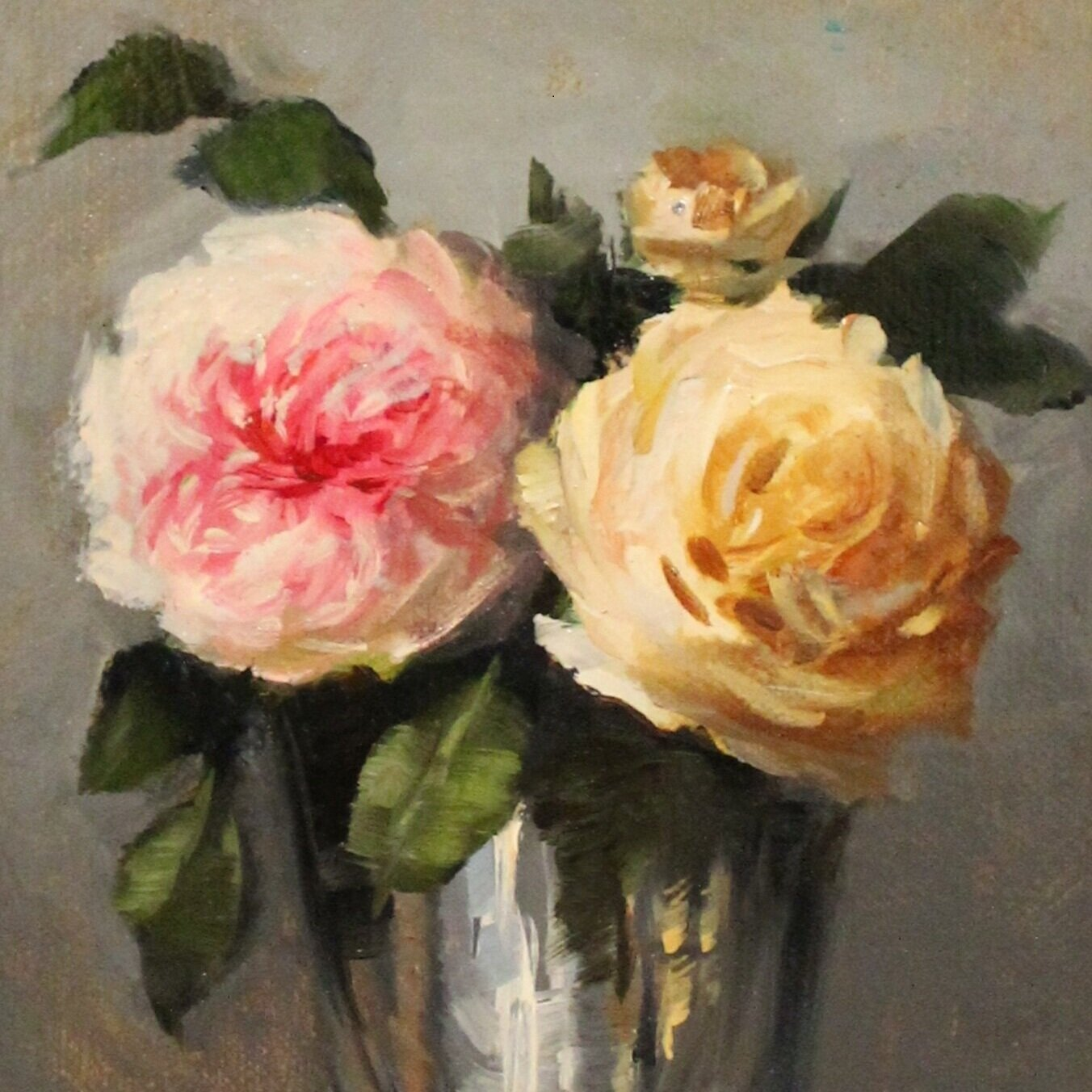 Garden Roses in Silver Cup -