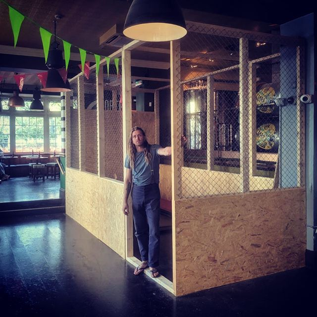 Only 5 days to go till yall can start #axethrowing on the daily at @northlainepub with our 90 minute tournaments or walk in and sling with other fun packages suited for parties, corporate or Christmas!  Here's our proud CoFounder Steve ready to show you the way of the warrior!  Book a session through our website on: www.tribeaxethrowing.co.uk  SLING.SINK.REPEAT.  #launchparty #