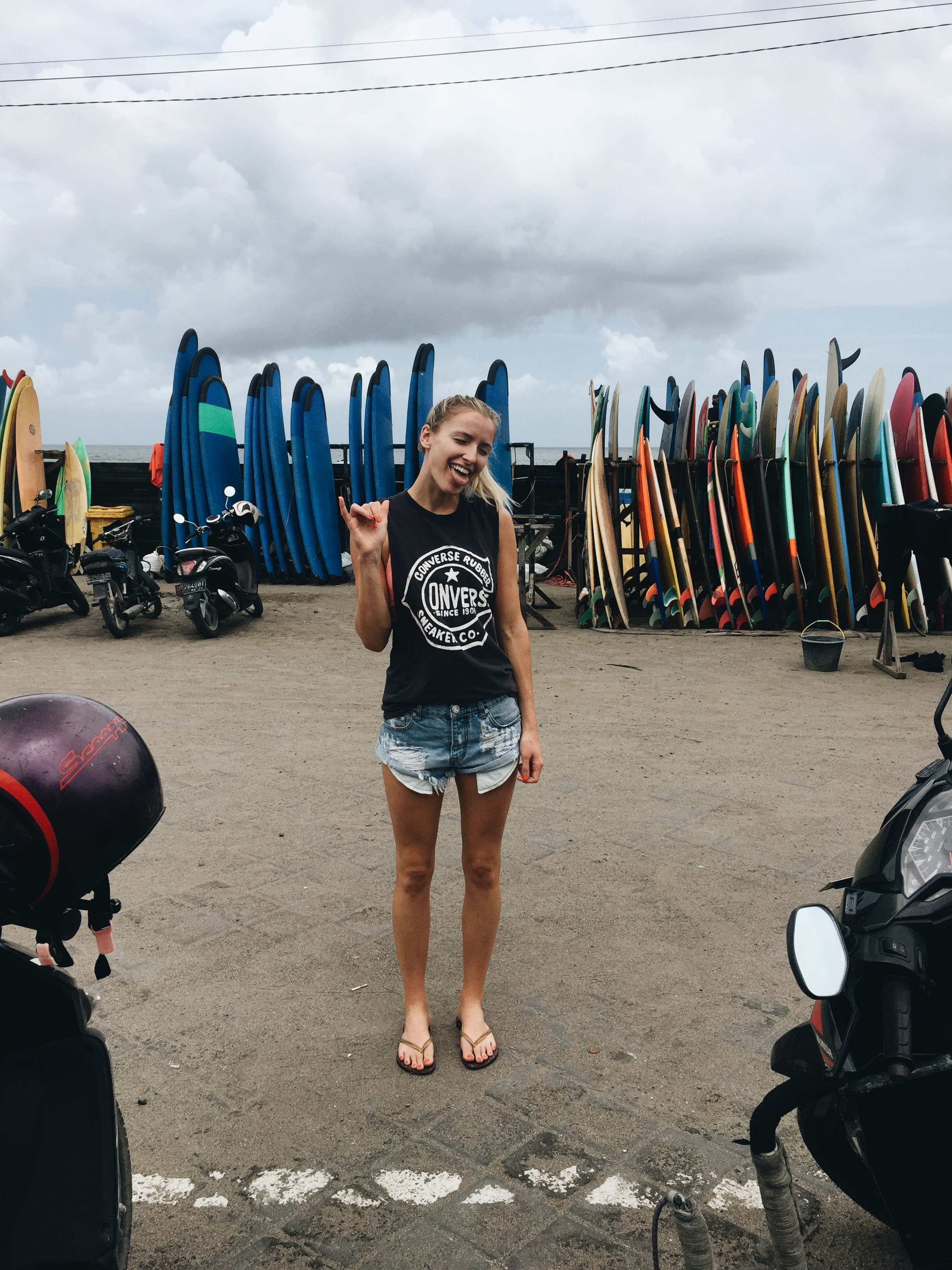 Surfing at Batu Bolong Beach, Canggu
